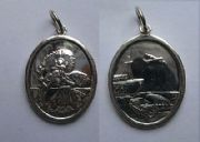 Sterling silver Large Oval Double sided St Christopher Pendant 4.8g
